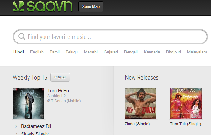 Pick a song  every song – Saavn