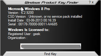 windows product key finder