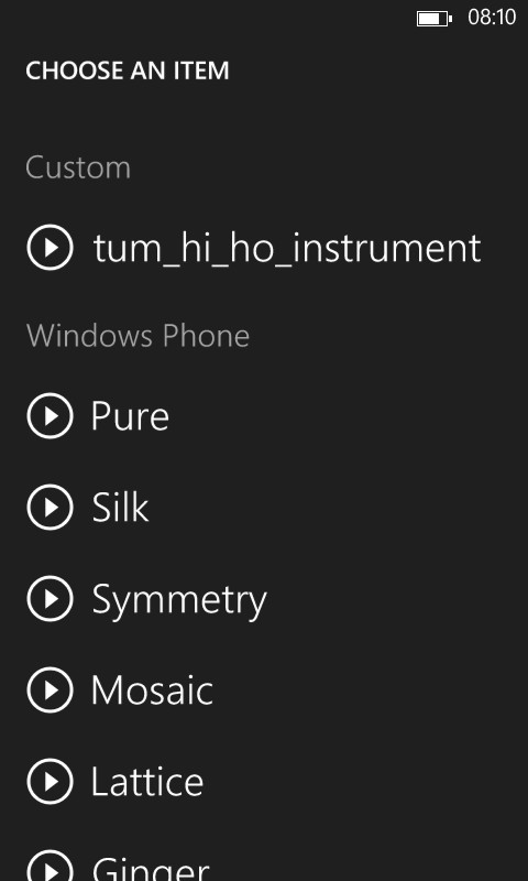 Screenshot of Windows Phone Ringtone set