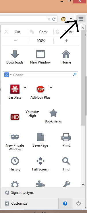 Help Menu in Firefox