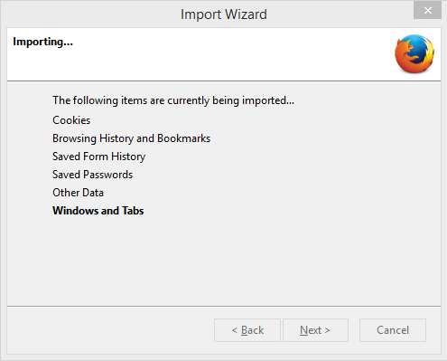 Importing Firefox