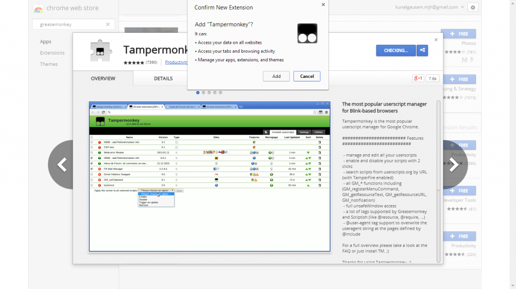 Google Chrome tampermonkey Extension