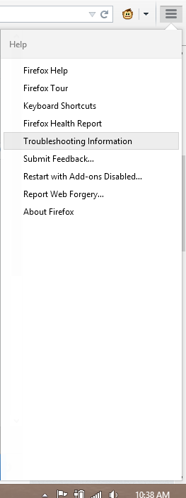 Troubleshoot Information Firefox